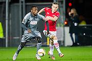 ALKMAAR - 26-11-15, Europa League, AZ  - FK Partizan, AFAS Stadion, Partizan spelerOumarou, AZ speler Jeffrey Gouweleeuw.