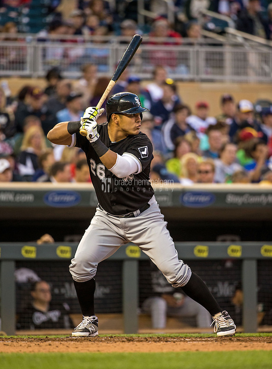 MINNEAPOLIS, MN- MAY 01: Avisail Garcia #26 of the Chicago White Sox bats against the Minnesota Twins on May 1, 2015 at Target Field in Minneapolis, Minnesota. The Twins defeated the White Sox 1-0. (Photo by Brace Hemmelgarn) *** Local Caption *** Avisail Garcia