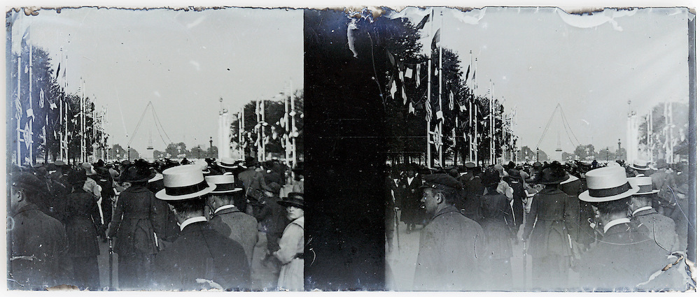 stereo image of crowd during the 1889 World Exhibition Paris with Eiffel tower in the distance