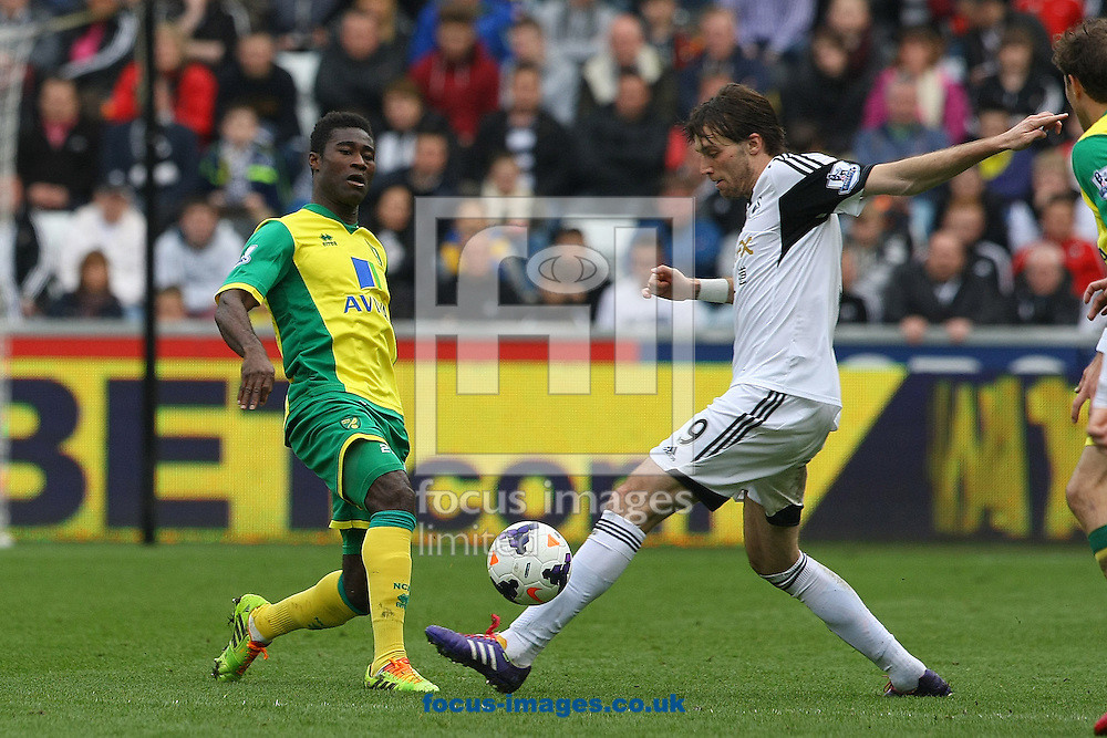 Alexander Tettey of Norwich and Michu of Swansea in action during the Barclays Premier League match at the Liberty Stadium, Swansea<br /> Picture by Paul Chesterton/Focus Images Ltd +44 7904 640267<br /> 29/03/2014