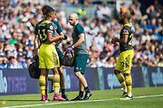 Yan Valery (Southampton) receives treatment during the Premier League match between Brighton and Hove Albion and Southampton at the American Express Community Stadium, Brighton and Hove, England on 24 August 2019.