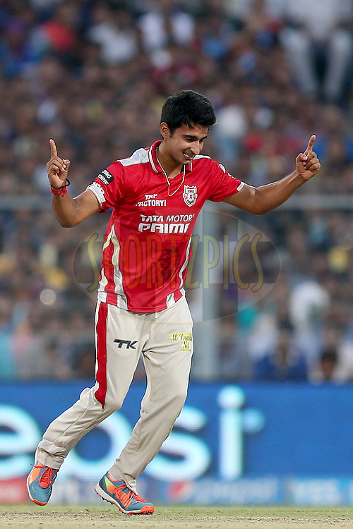 Karanveer Singh celebrates the wicket of Shakib Al Hasan during the first qualifier match (QF1) of the Pepsi Indian Premier League Season VII 2014 between the Kings XI Punjab and the Kolkata Knight Riders held at Eden Gardens Cricket Stadium, Kolkata, India on the 28th May 2014. Photo by Jacques Rossouw / IPL / SPORTZPICS<br /> <br /> <br /> <br /> Image use subject to terms and conditions which can be found here:  http://sportzpics.photoshelter.com/gallery/Pepsi-IPL-Image-terms-and-conditions/G00004VW1IVJ.gB0/C0000TScjhBM6ikg