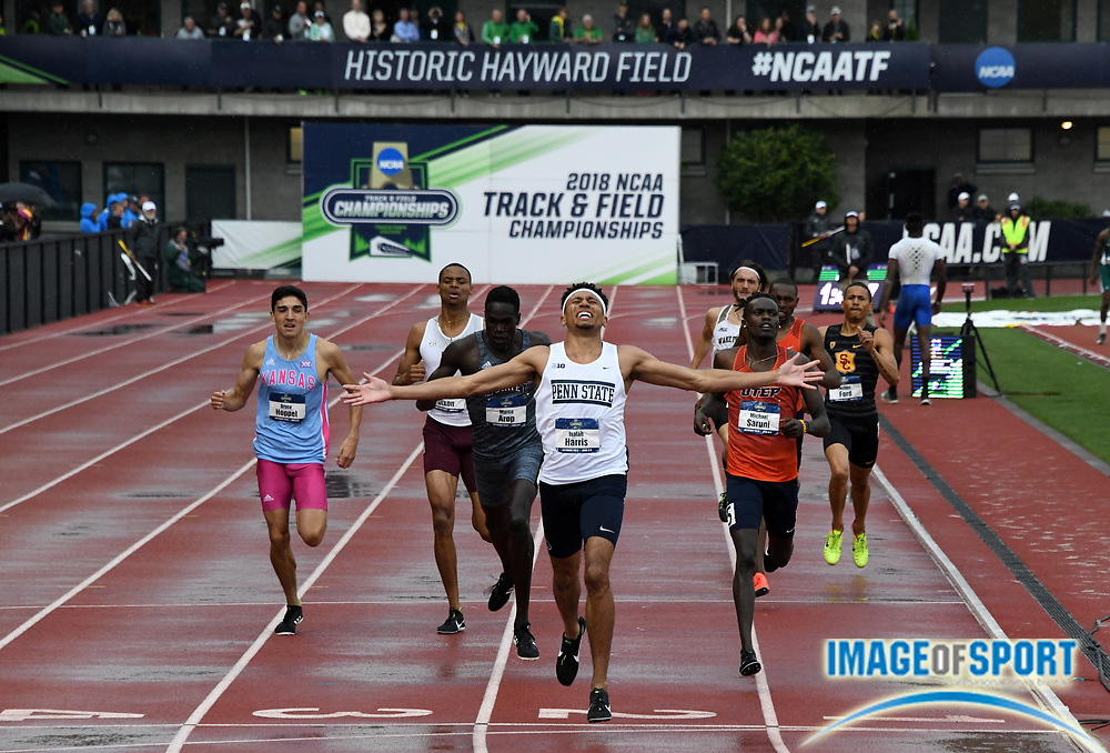 Jun 8, 2018; Eugene, OR, USA; Isaiah Harris of Penn State celebrates after defeating Michael Arop of Mississippi and Michael Saruni of UTEP to win the 800m in 1:44.76 during the NCAA Track and Field championships at Hayward Field.