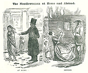 The Needlewoman at Home and Abroad': The advantages of emigration for the wretched British needlewoman on sweated wages. At this date skilled workers were given sponsored passages to emigrate to the colonies.  Cartoon from 'Punch', London, 1850.