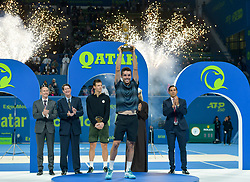 DOHA, Jan. 6, 2019  SP)QATAR-DOHA-TENNIS-QATAR OPEN.    Roberto Bautista Agut (front) of Spain poses with the trophy.    after winning the final match against Tomas Berdych of Czech Republic at the ATP Qatar Open tennis tournament in Doha, capital of Qatar, Jan. 5, 2019. Roberto Bautista Agut claimed the title by defeating Tomas Berdych with 2-1. (Credit Image: © Yangyuanyong/Xinhua via ZUMA Wire)