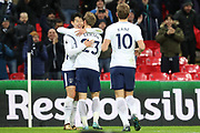Son Heung-Min of Tottenham Hotspur (7) celebrating after scoring goal to make it 2-0 during the Premier League match between Tottenham Hotspur and Brighton and Hove Albion at Wembley Stadium, London, England on 13 December 2017. Photo by Matthew Redman.