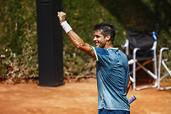 April 23, 2018 - Barcelona, Spain - BARCELONA, SPAIN - APRIL 23: Rogerio Dutra Silva from Brasil celebrating his victory against Jared Donaldson during the Barcelona Open Banc Sabadell 66º Trofeo Conde de Godo at Reial Club Tenis Barcelona on 23 of April of 2018 in Barcelona. (Credit Image: © Xavier Bonilla/NurPhoto via ZUMA Press)