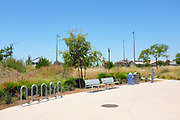 Respite Area and Bicycle Rack in the Bosque Open Space area of the Great Park