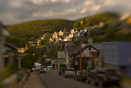summer evening on hillside in Old Town Park City, Utah with Main Street in foreground