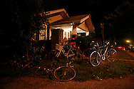 Bicycles sit outside a house on Hillside during a punk show in Bloomington Indiana.