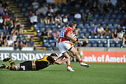 Wycombe, GREAT BRITAIN,  WaspsJoe WORSLEY hanging onto Chris LATHAMS legs during the Guinness Premiership match,  London Wasps vs Worcester Warriors at Adam's Park Stadium, Bucks on Sun 14.09.2008. [Photo, Peter Spurrier/Intersport-images]