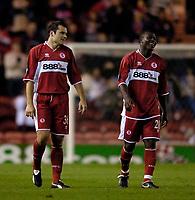 Photo: Jed Wee.<br />Middlesbrough v Dnipro. UEFA Cup. 03/11/2005.<br /><br />Middlesbrough goalscorers Mark Viduka (L) and Yakubu celebrate.