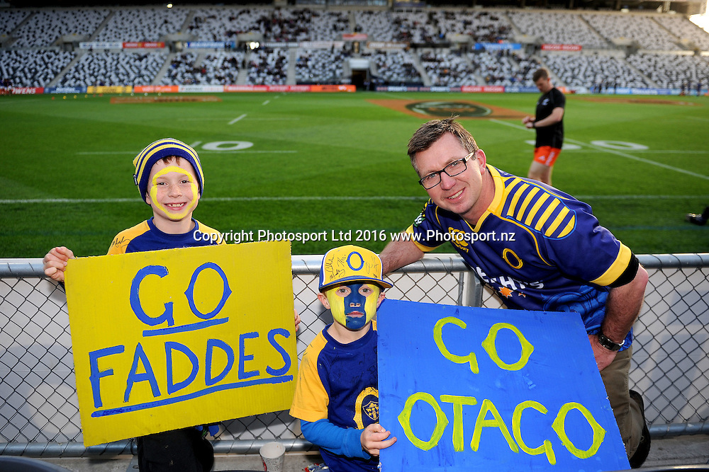 Otago fans look on prior to the Mitre 10 Competition match between Otago and Counties at Forsyth Barr Stadium on October 8, 2016 in Dunedin, New Zealand. Credit: Joe Allison / www.Photosport.nz