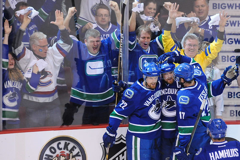 VANCOUVER, CANADA - APRIL 22: of the Vancouver Canucks of the Los Angeles Kings in Game Five of the Western Conference Quarterfinals during the 2012 NHL Stanley Cup Playoffs at Rogers Arena on April, 22, 2012 in Vancouver, British Columbia, Canada. (Photo by Derek Leung/Getty Images) *** LOCAL CAPTION *** playername