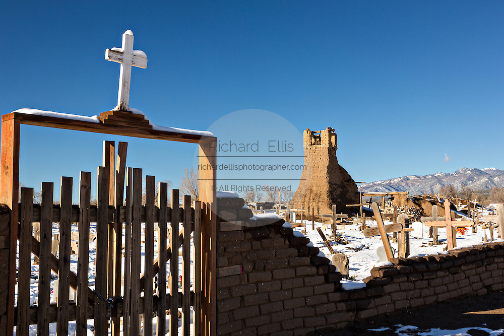 San Geronimo Church ruin and cemetery at the ancient Native American Taos Pueblo outside Taos, New Mexico. The pueblos are considered to be one of the oldest continuously inhabited communities in the United States and is designated a UNESCO World Heritage Site.
