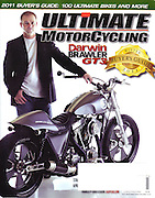 James Pratt photographed the cover for Ultimate Motorcycling Magazine for a story on Dar Holdsworth, CEO of Darwin Motorcycles and Brass Ball Bobbers and choppers.  Story included a 6 page layout using James' photos.