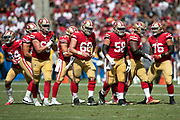 The San Francisco 49ers offense breaks from the huddle and heads to the line of scrimmage during the NFL week 4 regular season football game against the Los Angeles Chargers on Sunday, Sept. 30, 2018 in Carson, Calif. The Chargers won the game 29-27. (©Paul Anthony Spinelli)