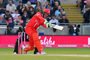 Keaton Jennings of Lancashire hits the ball to the boundary for four runs during the Vitality T20 Finals Day Semi Final 2018 match between Worcestershire Rapids and Lancashire Lightning at Edgbaston, Birmingham, United Kingdom on 15 September 2018.