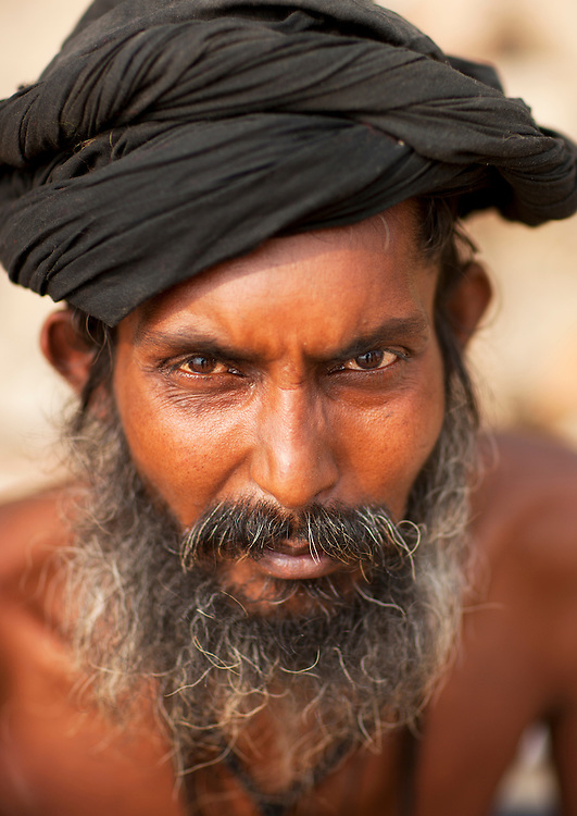 Black Naga at Maha Kumbh Mela, a festival known as world's largest congregation of religious pilgrims. Allahabad, India.