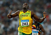 Usain Bolt from Jamaica wins the men's 200m final at the Olympic games in Beijing, China, 20 August 2008.