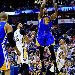 Oct 28, 2016; New Orleans, LA, USA;  Golden State Warriors forward Kevin Durant (35) drives and shoots past New Orleans Pelicans forward Anthony Davis (23) during the first quarter of a game at the Smoothie King Center. Mandatory Credit: Derick E. Hingle-USA TODAY Sports