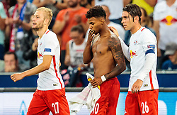 24.08.2016, Red Bull Arena, Salzburg, AUT, UEFA CL, FC Red Bull Salzburg vs Dinamo Zagreb, Play off, Rueckspiel, im Bild Torjubel Red Bull Salzburg, Konrad Laimer (FC Red Bull Salzburg), Valentino Lazaro (FC Red Bull Salzburg), Jonatan Soriano (FC Red Bull Salzburg) // Goal Celebration Salzburg during the UEFA Championsleague Play off 2nd Leg Match between FC Red Bull Salzburg and Dinamo Zagreb at the Red Bull Arena in Salzburg, Austria on 2016/08/24. EXPA Pictures © 2016, PhotoCredit: EXPA/ JFK