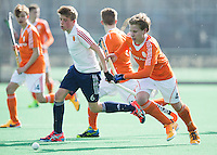 ROTTERDAM -    Ties Klinkhamer (r) with JJ Flankfer (Eng)    Practice Match  Hockey : Netherlands Boys U16  v England U16 . COPYRIGHT KOEN SUYK