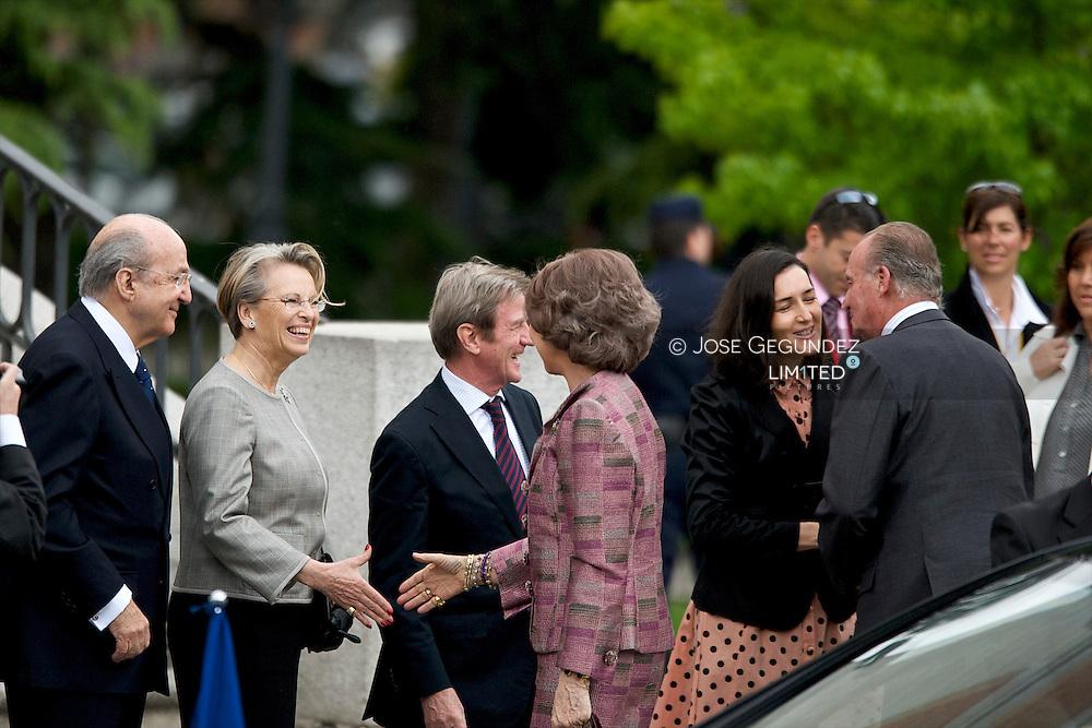 Madrid. Museo del Prado. SS.MM. los Reyes, D. Juan Carlos I y Da. Sofia, acompañan en la Visita al Museo Nacional del Prado a SS.EE. el Presidente de la Republica Francesa, Nicolas Sarkozy y Sra. Carla Bruni