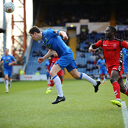 TELFORD COPYRIGHT MIKE SHERIDAN 16/2/2019 - Dan Udoh of AFC Telford closes down Lewis Baines of Stockport during the Vanarama Conference North fixture between Stockport County and AFC Telford United at Edgeley Park