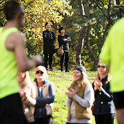 NYTRUN - NOV. 6, 2016 - NEW YORK - Spectators watch the 2016 TCS New York City Marathon as runners pass through Central Park on East Drive on Sunday afternoon. NYTCREDIT:  Karsten Moran for The New York Times