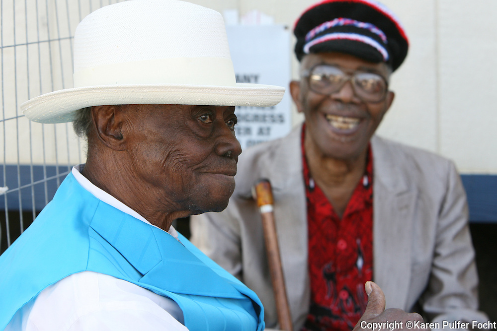 2010- Pinetop Perkins awaits his turn on stage at the King Biscut Blues Festival in Helena, Arkansas six months before he died. He is with bluesman Mojo Buford.