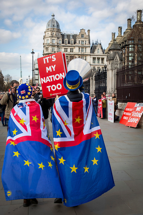 Pro EU demonstrators who have been outside parliament on a daily basis since September 2017 after the country voted to leave the European Union. House of Commons, Westminster, London, United Kingdom  (photo by Andrew Aitchison / In Pictures via Getty Images)