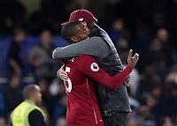 Football - 2018 / 2019 Premier League - Chelsea vs. Liverpool<br /> <br /> Jurgen Klopp, manager of Liverpool FC,  hugs goal scorer Daniel Sturridge (Liverpool FC) at the end of the game at Stamford Bridge <br /> <br /> COLORSPORT/DANIEL BEARHAM