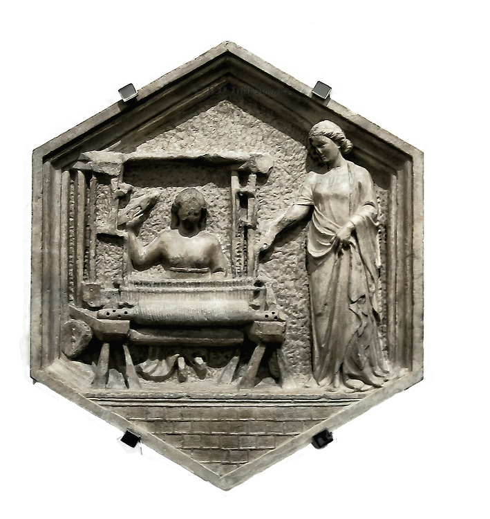Hexagonal lozenge from the Campanile: woman at a loom, with another woman standing next to it looking on, denoting the Art of Wool-Making.  Attributed to Andrea Pisano.  Classical air of the drapery shows that the Renaissance has begun.