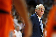 FAYETTEVILLE, AR - NOVEMBER 30:  Head Coach Jim Boeheim of the Syracuse Orangemen looks angry at his players during a game against the Arkansas Razorbacks at Bud Walton Arena on November 30, 2012 in Fayetteville, Arkansas.  The Orangemen defeated the Razorbacks 91-82.  (Photo by Wesley Hitt/Getty Images) *** Local Caption *** Jim Boeheim