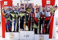 Langrenn<br /> FIS World Cup<br /> 07.12.2008<br /> La Clusaz Frankrike<br /> Stafett kvinner<br /> Foto: Gepa/Digitalsport<br /> NORWAY ONLY<br /> <br /> Bild zeigt das Team von Schweden mit Anna Haag, Lina Andersson, Sara Lindborg, Charlotte Kalla (SWE), das Team von Finnland mit Aino-Kaisa Saarinen, Pirjo Muranen, Virpi Kuitunen, Riitta-Liisa Roponen (FIN) und das Team von Norwegen mit Therese Johaug, Kristin Mürer Stemland, Betty-Ann Bjerkreim Nilsen und Kristin Størmer Steira (NOR)
