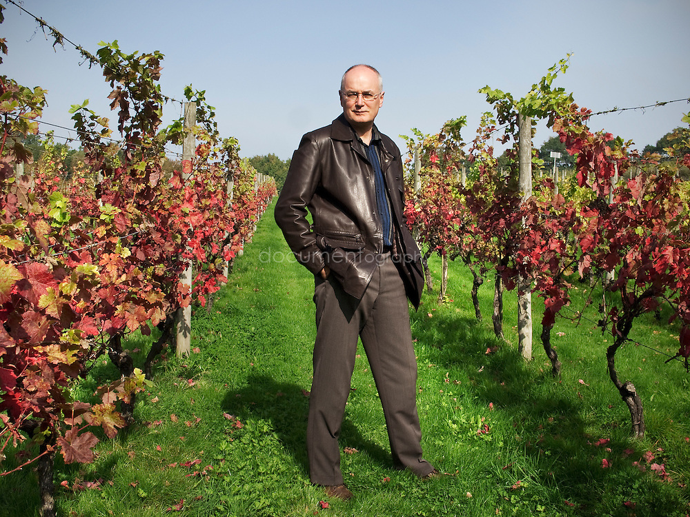Prof. Roger Corder author of the Red Wine Diet at the Hidden Spring vineyard near his home in Heathfield, East Sussex, UK.