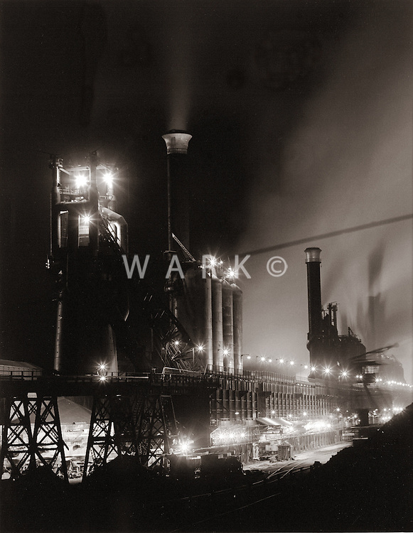 1960s CF&I Steel night view of blast furnace row