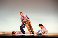 Baritone: Simon Keenlyside,and dancers: Brandi L. Norton, and Lionel Popkin in Schubert's Winterreise. Choreographed by Trisha Brown for Barbican. Lighting: Jenifer Tipton