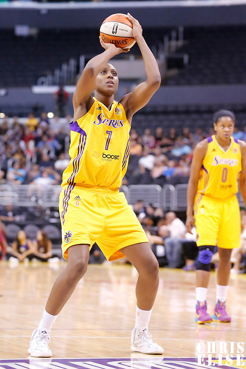 24 August 2014: Los Angeles Sparks forward/center Sandrine Gruda (7) is seen at the free throw line during the Phoenix Mercury 93-68 victory over the Los Angeles Sparks, in a Conference Semi-Finals at the Staples Center, Los Angeles, California, USA.