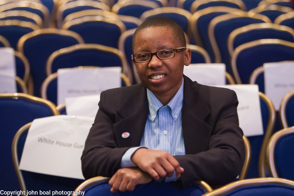LaShana Lewis, an associate systems engineer at MasterCard, after President Barack Obama's address at the National League of Cities Congressional City Conference, at the Marriott Wardman Park Hotel, on Monday, March 9, 2015.  Lewis is an alum of the non-profit organization, Launch Code, which led to her hiring by MasterCard.  During his speech, President Obama singled out Lewis as the type of American he hopes to help as he unveiled his new Tech Hire Initiative which aims to provide training and jobs for Americans looking to find work in the high tech industry.  John Boal Photography
