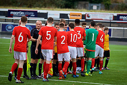 MERTHYR TYDFIL, WALES - Thursday, November 2, 2017: Wales and Newport County players shake hands before an Under-18 Academy Representative Friendly match between Wales and Newport County at Penydarren Park. (Pic by David Rawcliffe/Propaganda)