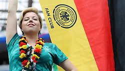 MOSCOW, June 17, 2018  A fan of Germany cheers prior to a group F match between Germany and Mexico at the 2018 FIFA World Cup in Moscow, Russia, June 17, 2018. (Credit Image: © Cao Can/Xinhua via ZUMA Wire)