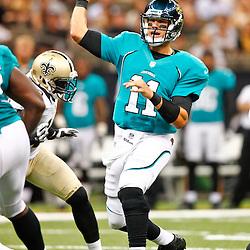 August 17, 2012; New Orleans, LA, USA; Jacksonville Jaguars quarterback Blaine Gabbert (11) against the New Orleans Saints during the first half of a preseason game at the Mercedes-Benz Superdome. Mandatory Credit: Derick E. Hingle-US PRESSWIRE