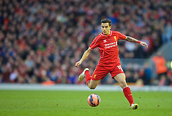 LIVERPOOL, ENGLAND - Sunday, March 8, 2015: Liverpool's Philippe Coutinho Correia in action against Blackburn Rovers during the FA Cup 6th Round Quarter-Final match at Anfield. (Pic by David Rawcliffe/Propaganda)