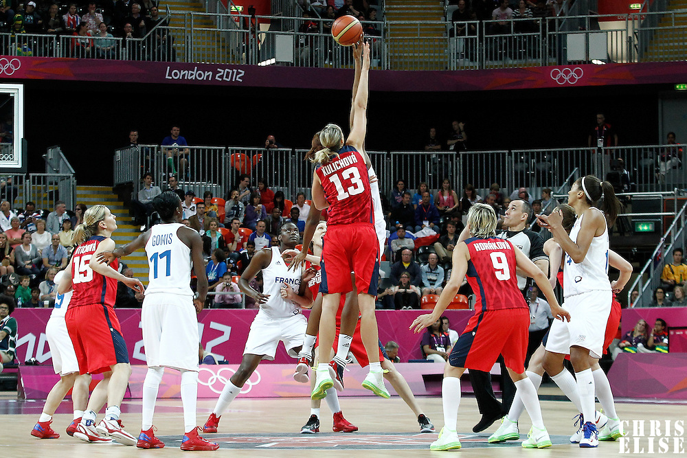 07 August 2012: Jump ball at the beginning of the 71-68 Team France victory over Team Czech Republic, during the women's basketball quarter-finals, at the Basketball Arena, in London, Great Britain.