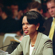 Dr. Condoleeza Rice, Assistant to the President for National Security Affairs, testifying at the 9/11 Commission's 9th Public Hearing, held in Washington DC. This was a special hearing to hear Rice's testimony.