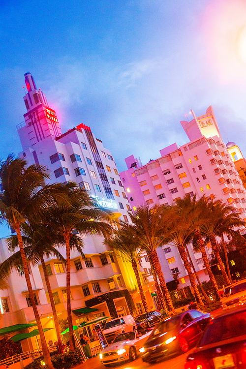 Art Deco hotels on Collins Avenue during Art Basel Miami Beach 2012