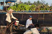 Mekong Delta. Early morning at Cai Rang Floating Market on Can Tho River. Bananas.