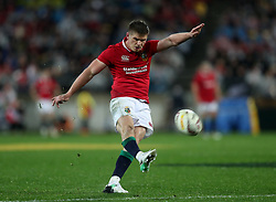 British and Irish Lions' Owen Farrell kicks a conversion during the second test of the 2017 British and Irish Lions tour at Westpac Stadium, Wellington.